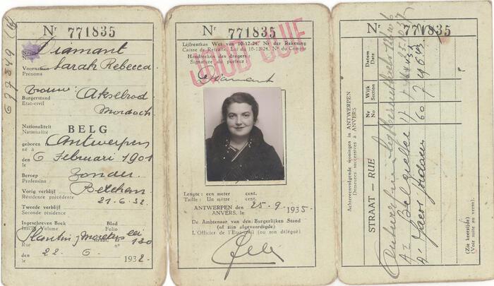 Joods paspoort van Diamant Sarah Rebecca