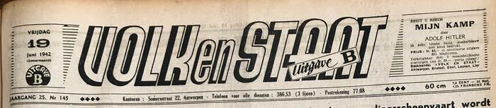 VNV-krant Volk en Staat, 19 juni 1942