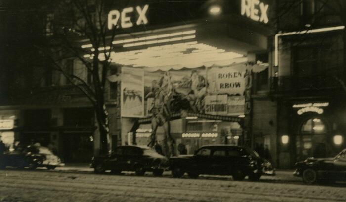 Cinema Rex hersteld, foto uit 1950.