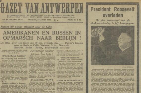 Voorpagina van de Gazet van Antwerpen op 13 april 1945