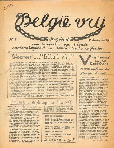 """Voorpagina van """"België Vrij"""""""