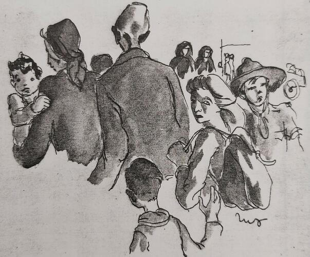 Tekening van volwassenen en kinderen