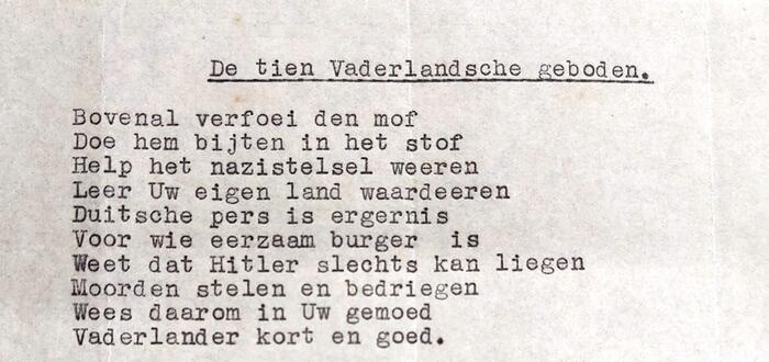 Vers met als doel: spotten met de Duitse bezetter en het patriottisme aanwakkeren. (© Stadsarchief Antwerpen)