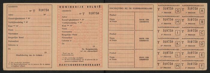 Rantsoenkaart Koninkrijk België.