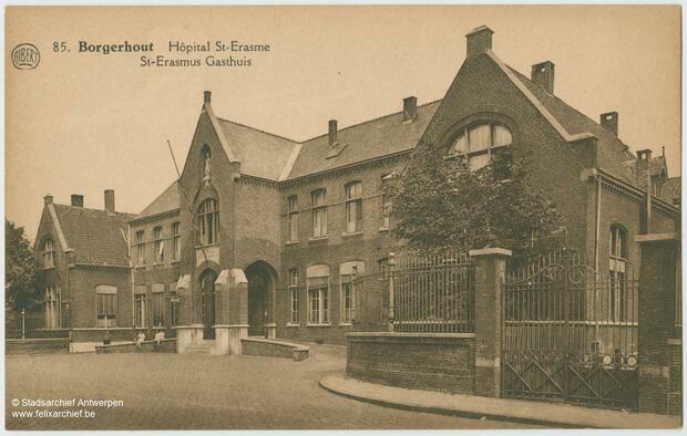 Oude afbeelding van gebouw met bijschrift 'Borgerhout - Sint-Erasmus Gasthuis'