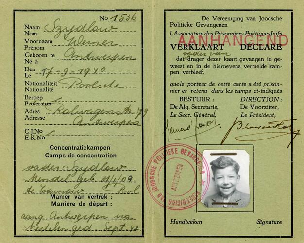Identiteitsbewijs Werner Szydlow